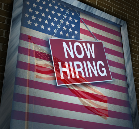 US economy jobs and hiring employees in the United States as an American economic rise and inflation with wage increases and employment demand as a 3D illustration. Stock Photo