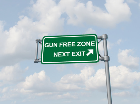 Gun free zone concept and firearm weapon prohibition idea as a highway sign with text as a gun rights or arming teacher issue as a 3D illustration.