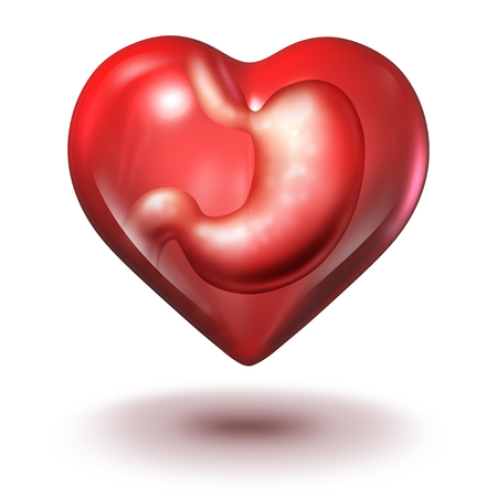 Emotional eating addiction health concept as a human stomach inside a heart shape as a foodie or food lover symbol as a 3D illustration.