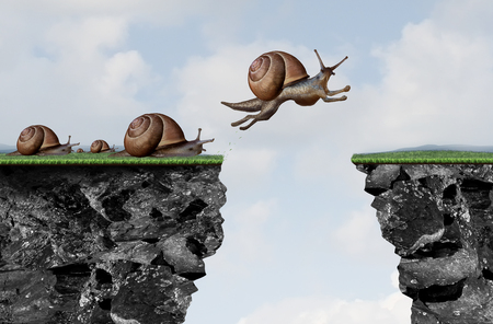 Innovation leadership philosophy as a business motivation with change idea as a snail jumping over a cliff with 3D illustration elements.