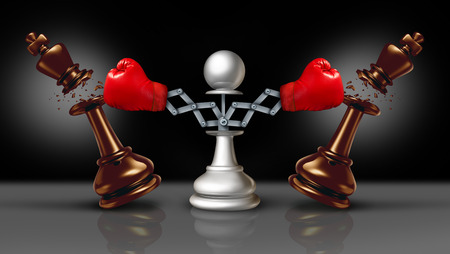 Knocking out competition business concept or knock and punch symbol as a secret weapon with a chess pawn beating competitors with a hidden red boxing glove as a 3D illustration. Stock Photo