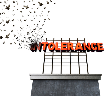Intolerance and bigotry idea as a sign transforming to flying birds as a surreal metaphor for fighting against racism and hatred for others that are different with 3D illustration elements. Banco de Imagens