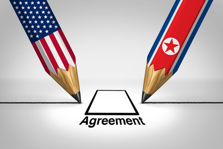 United States North Korea diplomacy agreement and American and North Korean diplomatic meeting with pyongyang and washington connecting together as a 3D illustration.