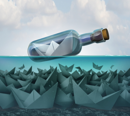 Concept of survival and smart competition strategy and tenacity as a paper boat in a bottle surviving over competitors to persist as a success idea with 3D illustration elements.