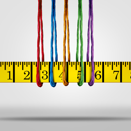 Diet and weight loss support group as diverse ropes holding a tape measure as a 3D illustration.