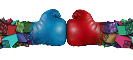 Trade war dispute economic fight business concept as national trade tariff disagreement and export or import duties argument fighting with 3D illustration elements. Stock Photo
