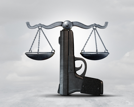 Gun law and weapon legislation concept as a handgun shaped as a justice scale as a legal rights idea as a 3D illustration.