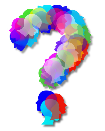 People questions as an abstract population shaped as a question mark as a symbol for society and diversity choices in a 3D illustration style on a white background.