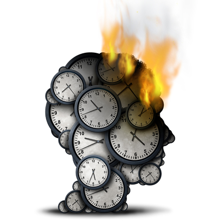 Burning time concept as a business stress idea with a human head made of clocks that is on fire as a corporate deadline pressure metaphor as a 3D illustration.
