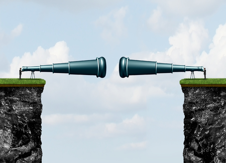 Corporate spying and business espionage concept as two competitors following each other observing using a telescope with 3D illustration elements.