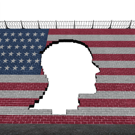 Illegal immigration in the United States as a refugee crisis concept with a hole in a border wall with a US flag as a social issue on refugees or illegal immigrants as a 3D illustration.