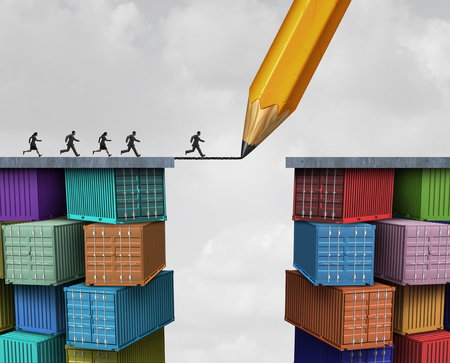 Global trade and economic bridge business shipping concept as a pencil drawing on freight containers creating a successful trading link with 3D illustration elements. Banque d'images