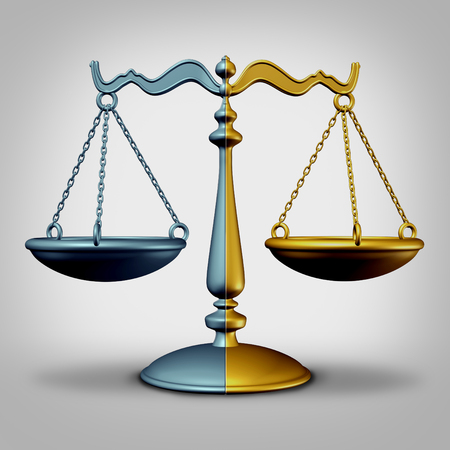 Merger And Acquisition corporate legal agreement concept as a business competition strategy deal idea with two pieces of justice scale coming together as a 3D illustration.