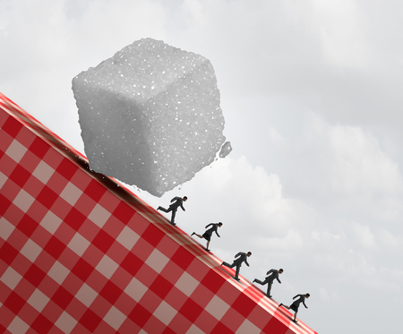 Sugar health danger as a medical concept with people running away from a sweet granulated refined white sugar cube as a metaphor for unhealthy diet with 3D illustration elements.