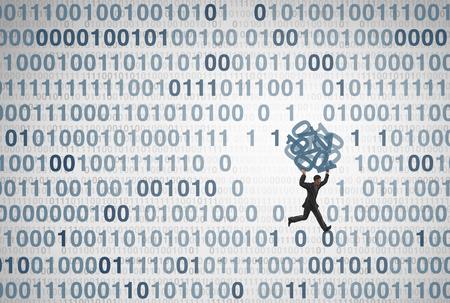 3D 일러스트레이션 스타일의 컴퓨팅 위험 아이디어로 코드를 훔치는 디지털 도둑과 같은 기술 보안 개념으로서의 데이터 유출 및 개인 정보 도용.