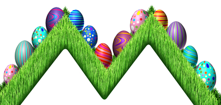Easter Egg hunt design with eggs in a zig zag row sitting on green grass as a symbol of spring and a holiday decoration of the renewal season as a 3D illustration.
