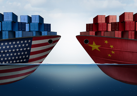 China United States trade and American tariffs as two opposing cargo ships as an economic  taxation dispute over import and exports concept as a 3D illustration. Stock fotó - 98616873