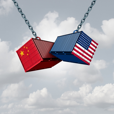 China USA trade war and American tariffs as two opposing cargo freight containers in conflict as an economic dispute over import and exports concept as a 3D illustration. Foto de archivo