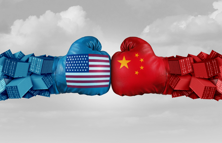 China USA or United States trade and American tariffs conflict with two opposing trading partners as an economic import and exports dispute concept with 3D illustration elements