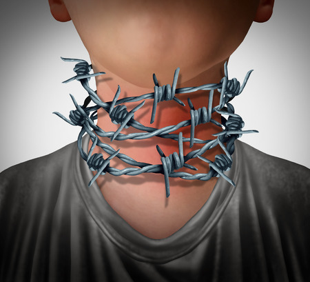 Sore throat pain medical concept as a human neck wrapped with barbed wire as a painful health problem symbol in a 3D illustration style. Stock Photo