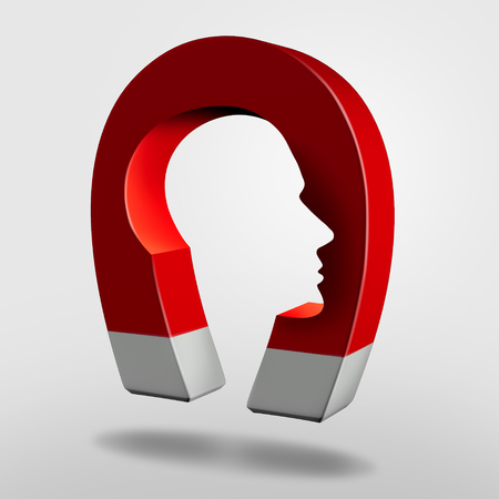 Magnet head as an attraction psychology concept or magnetic personality as an object with magnetism shaped as a human mind as a 3D illustration.