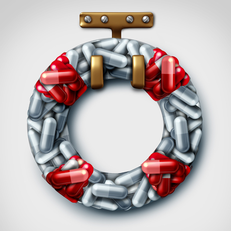 Life saver medicine and medication lifesaver medical or pharmacy prescription drug help as a 3D illustration.
