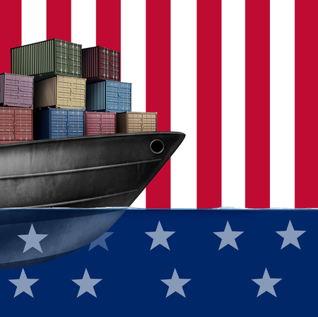 United States economic trade and American shipping as imports and exports government policy in the USA as a 3D illustration.