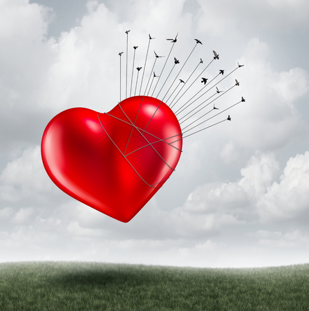 Organ donation concept and social volunteer group helping as birds transporting a heart with 3D illustration elements.