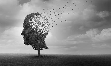 Alzheimer disease as a neuropathology memory loss due to brain degeneration and decline as a surreal medical neurology illness concept. Foto de archivo - 99177249
