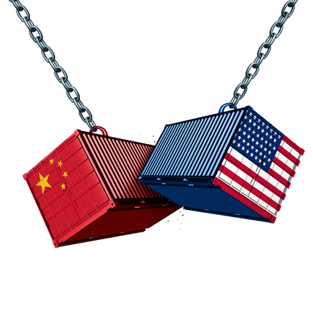 Chinese and American tariff war as a China USA trade problem as two cargo containers in conflict as an economic dispute over import and exports concept as a 3D illustration.