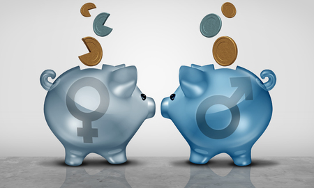 Pay equity and economic gender gap business concept as two piggy bank objects with male and female symbol showing salary inequality as a 3D illustration.