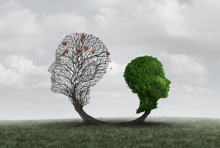 Parent loss or the death of a father or mother as a child and adult shaped as a tree as a psychology symbol of parenthood problems with 3D illustration elements. Stock Photo