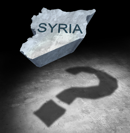 Syria conflict questions about the middle east security crisis as a country icon casting a shadow of a question mark as a 3D illustration. Stock Photo