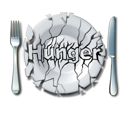 Hunger concept and hungry idea as a cracked broken plate with text as a poverty and malnutrition symbol as a 3D illustration.