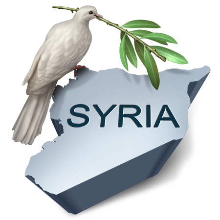 Syria crisis and hope for peace from a middle east conflict as a dove with an olive branch with 3D illustration elements.