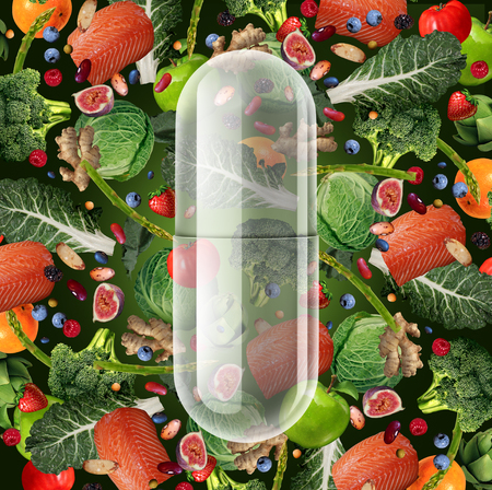 Supplement food pill and natural vitamin capsule as an alternative nutrition remedy as a supplemental diet tablet with 3D illustration elements. Stock Photo