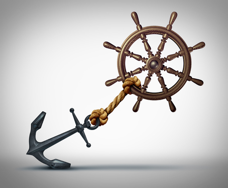 Business direction struggle and success effort to steer and navigate towards success as a ship wheel held back by an anchor with 3D illustration elements.