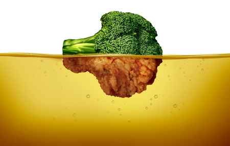 Deep fry cooking and fried food concept as a green raw broccoli and a cooked battered half under hot oil as a cuisine symbol for healthy and unhealthy eating in a 3D illustration style. Фото со стока