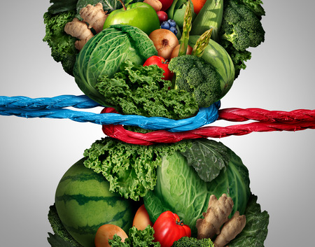 Vegetarian struggle and vegan eating habits or nutrition challenge as a healthy fresh food dieting concept.