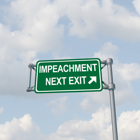 Impeachment and impeach concept  as a traffic sign representing government legal procedures to remove elected politicians with 3D illustration elements.