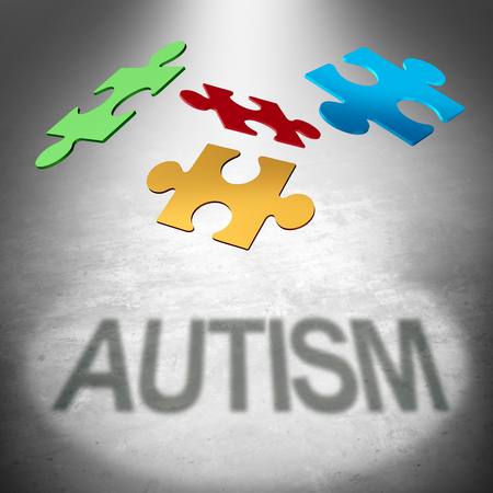 Autism puzzle symbol as an autistic child awareness icon as jigsaw pieces coming together to form text as a mental health syndrome as a 3D illustration.
