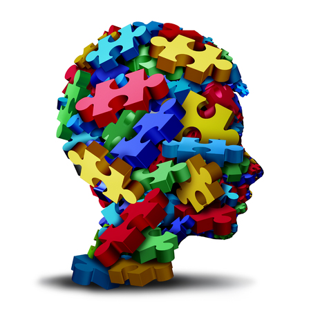 Autism developmental disorder puzzle children symbol as an autistic child awareness icon as jigsaw pieces coming together to form a young student head as a 3D illustration.