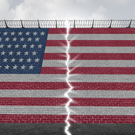 United States border wall concept as a US Mexico barrier with a glowing opening as a hope and freedom immigration or refugee symbol as a 3D illustration.
