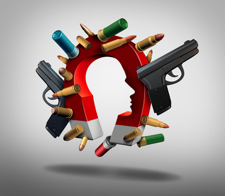 Attraction to guns and social or society security issues pertaining to the psychology of people and firearms and gun culture as a 3D illustration.