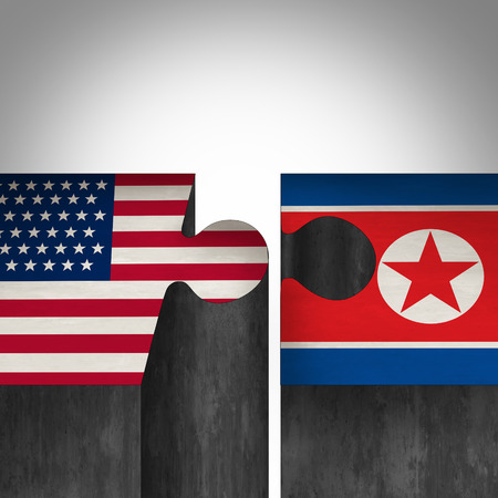 North Korea United States agreement and American and North Korean diplomacy between pyongyang and washington as tree roots connecting together with 3D illustration elements. Stok Fotoğraf
