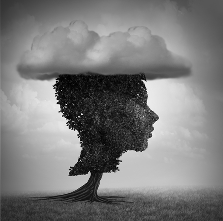 Psychology of child depression and childhood sorrow concept as a deprerssed kid shaped as a tree with a cloud as a psychological metaphor forsadness with 3D illustration elements. Stock Photo