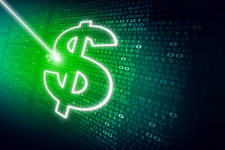 Financial data abstract technology background as a laser writing a dollar sign on digital code as an internet banking or investing finance symbol in a 3D illustration style.