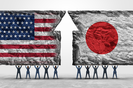 Japan United States success as business people holding up heavy rock objects with national flags as a Japanese and American cooperation success in a 3D illustration style.