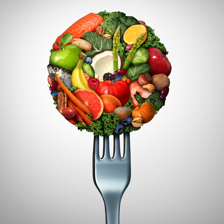 Healthy food idea with vegetables fruit nuts and nuts on a fork as a health lifestyle symbol with 3D illustration elements.