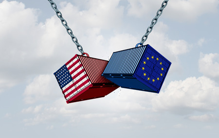 Europe USA trade war and American tariffs as two opposing cargo freight containers in European Union economic conflict as a dispute over import and exports as a 3D illustration. 版權商用圖片